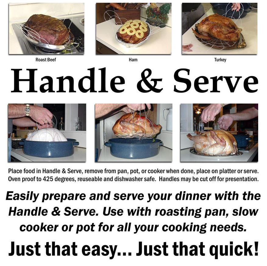 handle and serve, turkey, turkey holder, food preparation tool, roast, ham, roasting, chicken, pork, lobster, slow cooker, low fat cooking, corn steaming, how to roast a turkey, chicken, capons, beef, pork, leg of lamb